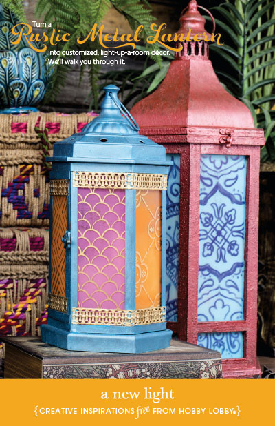 Hobby Lobby Project - A New Light - lanterns, decoration, custom, paint, crafts, stencil, home accent, decor