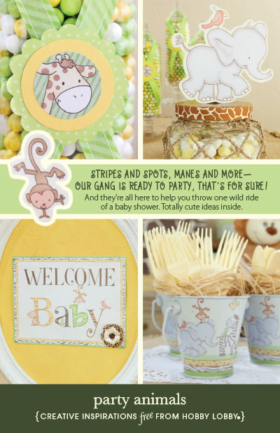 hobby lobby project party animals baby shower animals themes