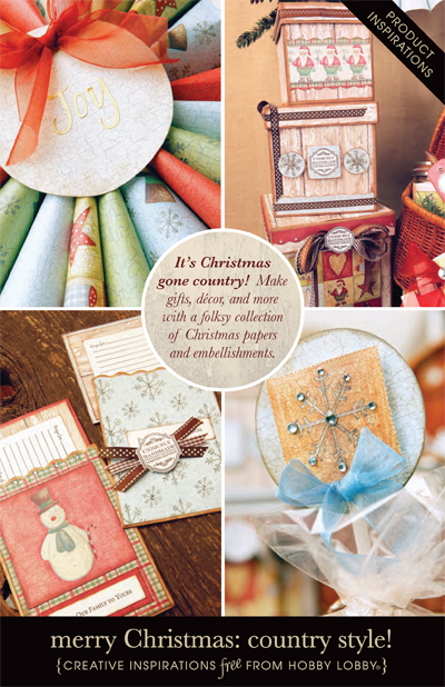 Hobby Lobby Project - Merry Christmas: Country Style! - Gift Tags, Holiday, Ornaments, Ornament, Invitations, Embellishment, Embellishments,