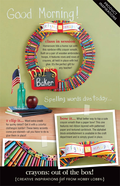 Hobby Lobby Project - Crayons: out of the box! - children, kids, wreath, picture frame,